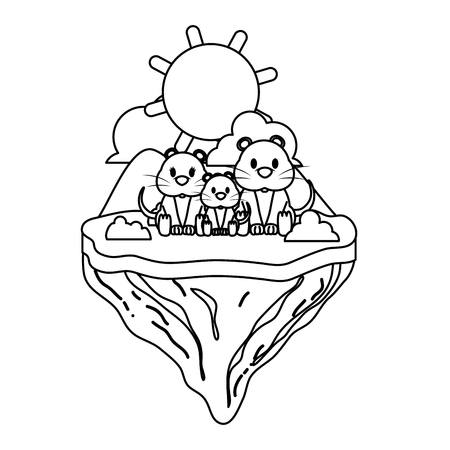 line family mouse animal in float island vector illustration