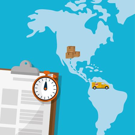worldwide fast delivery service order around world vector illustration graphic design