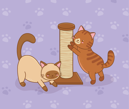cute little cats mascots characters vector illustration design Vettoriali
