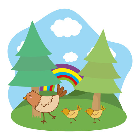 cute littles animals birds at nature park cartoon vector illustration graphic design