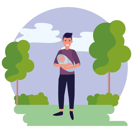 man carrying baby avatar cartoon character outdoor rural landscape round icon vector illustration graphic design
