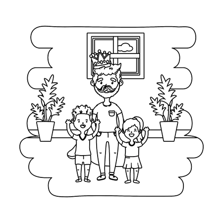 man with children icon cartoon beard at home house black and white vector illustration graphic design