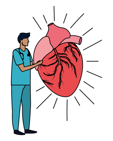 healthcare medical doctor man with human heart cartoon vector illustration graphic design