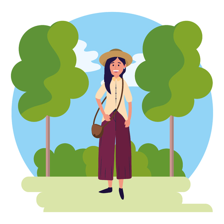 young happy woman at nature park cartoon vector illustration graphic design Ilustrace