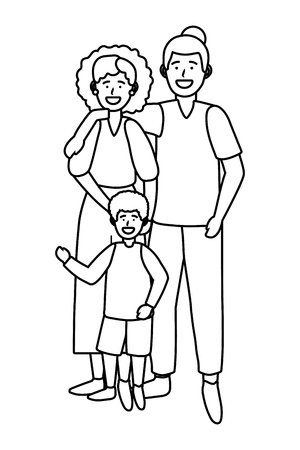 couple with child avatar cartoon character black and white vector illustration graphic design