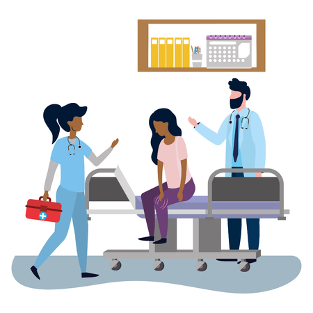 healthcare medical doctors colleagues woman and man at doctors office with woman patient cartoon vector illustration graphic design Illustration