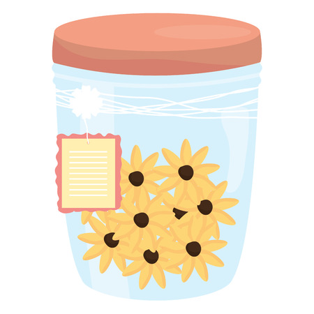 mason jar glass with flowers and tag hanging vector illustration design Ilustrace