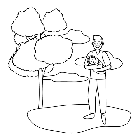 man carrying baby avatar cartoon character outdoor in the park black and white vector illustration graphic design
