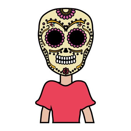 traditional katrina mexican character vector illustration design