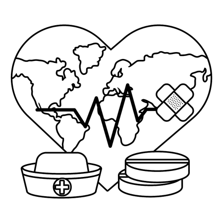 world saving eco heart rate hurt with bandage plaster cartoon vector illustration graphic design Иллюстрация