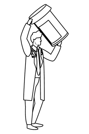 healthcare medical doctor man holding pills bottle cartoon vector illustration graphic design