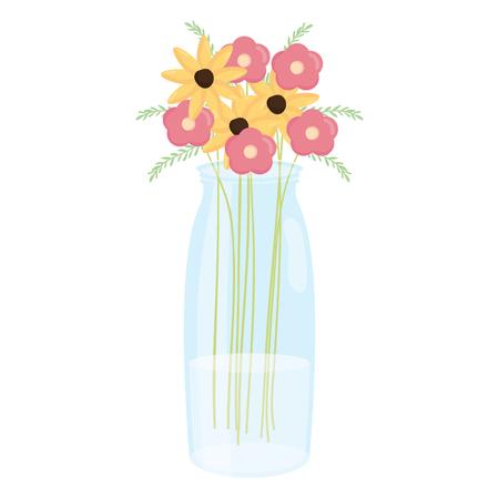 mason jar glass with floral decoration vector illustration design 向量圖像