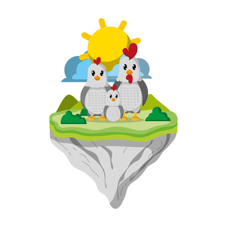 family chicken animal in float island vector illustration