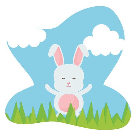 cute rabbit in the landscape character vector illustration design Illustration