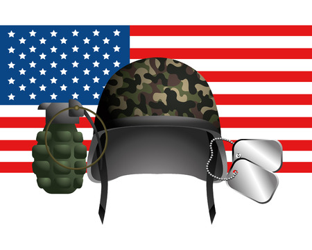 united state flag with military helmet dog tag plate and grenade vector illustration graphic design Фото со стока - 122632770