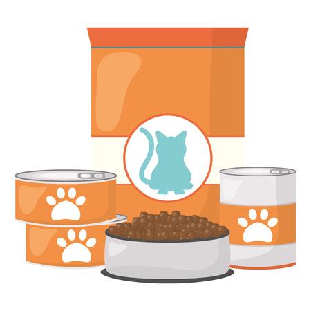 cat pet food bag and cans vector illustration design  イラスト・ベクター素材