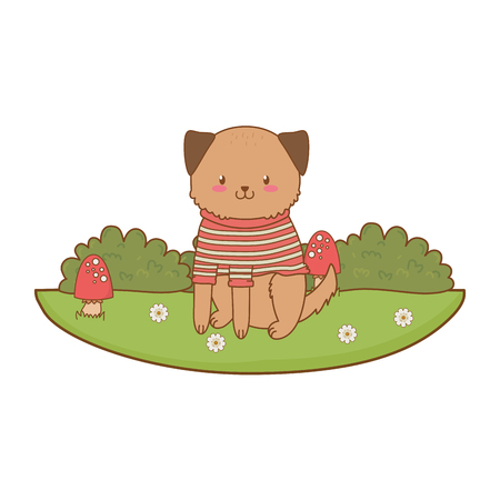 cute dog in the field woodland character vector illustration design Foto de archivo - 122632842