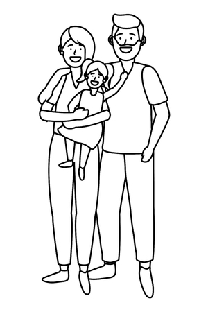 couple with child avatar cartoon character black and white vector illustration graphic design Stock Vector - 122632855