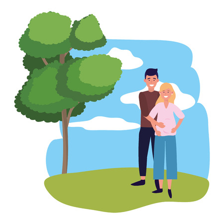 pregnant couple avatar cartoon character outdoor in the park vector illustration graphic design