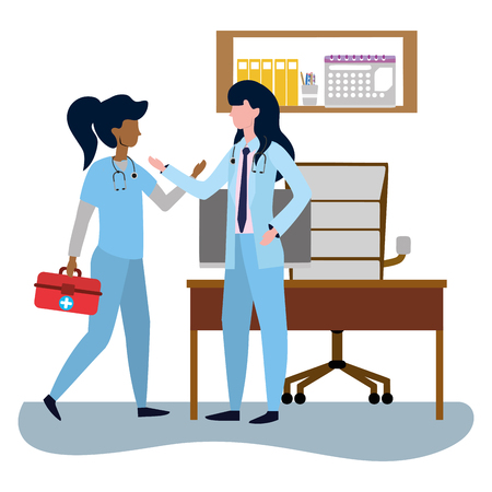 healthcare medical doctors colleagues women at doctors office cartoon vector illustration graphic design Illustration