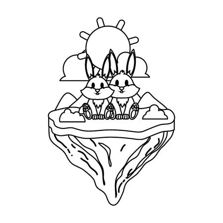 line couple rabbit animal in float island vector illustration Ilustração