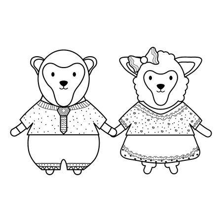 cute monkeys couple childish characters vector illustration design