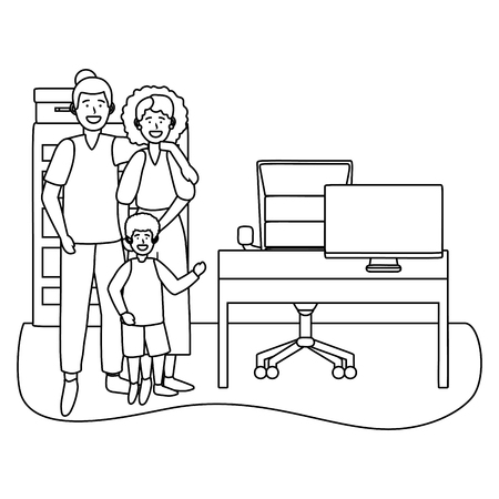 couple with child avatar cartoon character indoor studio office black and white vector illustration graphic design Ilustrace