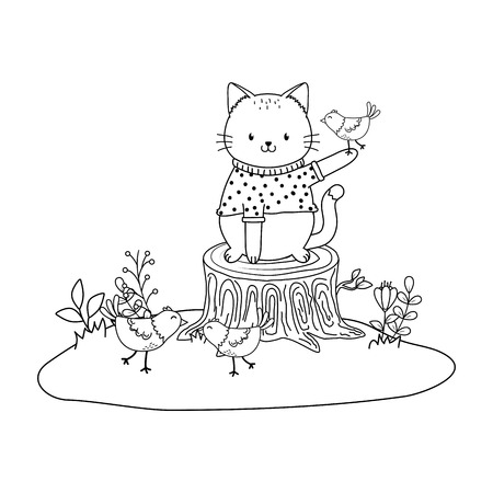 cute cat in the field woodland character vector illustration design Foto de archivo - 122632963