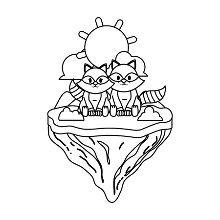 line couple raccoon animal in float island vector illustration