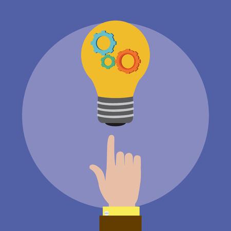 Hand pointing bulb with gears inside vector illustration graphic design Ilustração