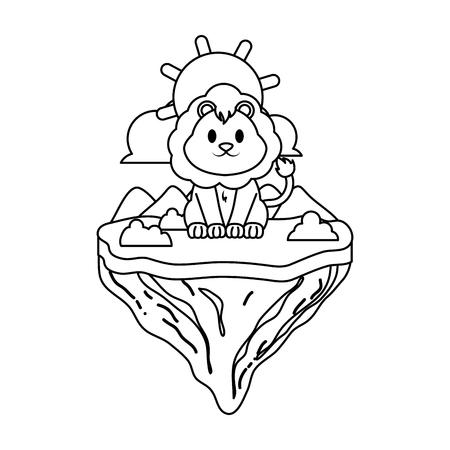 line male lion animal in float island vector illustration