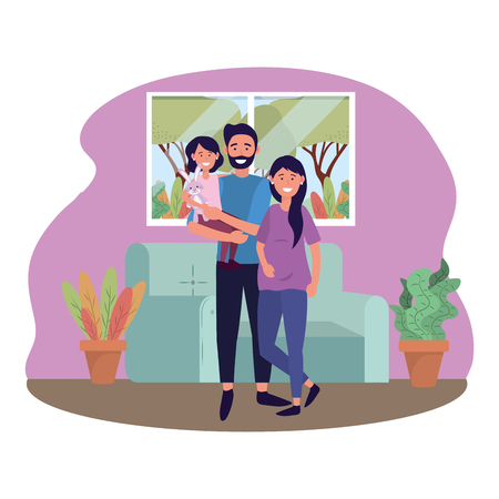 couple with child avatar cartoon character in the living room vector illustration graphic design