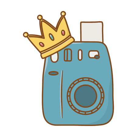 camera and crown icon cartoon vector illustration graphic design Çizim