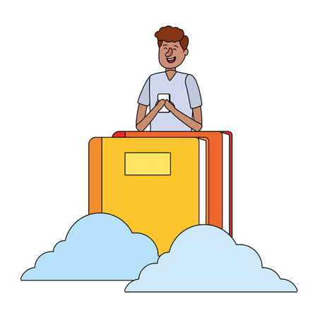 online education man with smartphone cartoon vector illustration graphic design