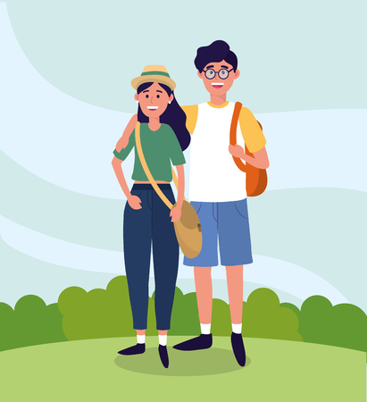 university woman and man couple with backpack vector illustration
