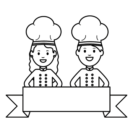 young chef couple avatars characters vector illustration design