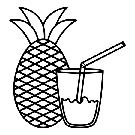 glass with juice of pineapple vector illustration design