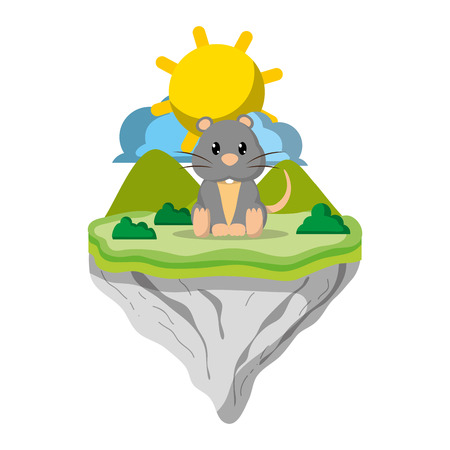 cute mouse animal in float island vector illustration