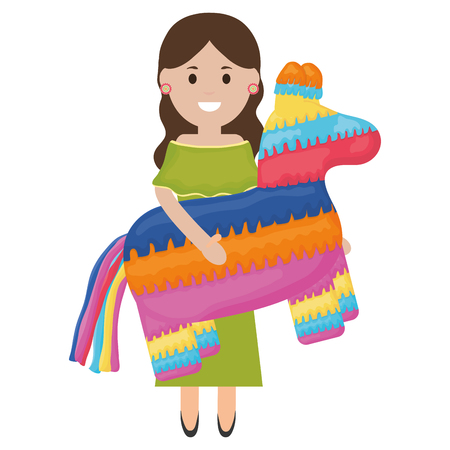 beautiful mexican woman with pinata character vector illustration design Illustration