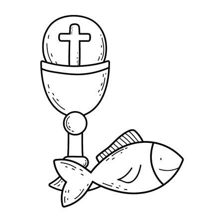 sacred chalice with first communion vector illustration design Vectores