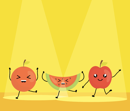 fresh fruits kawaii characters vector illustration design Ilustração