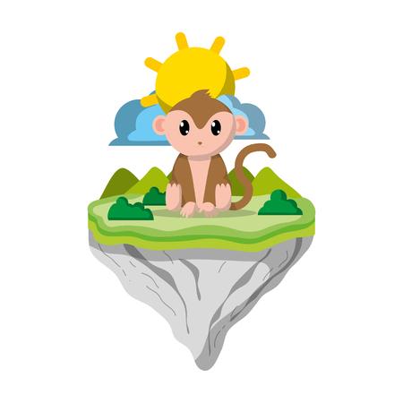 cute monkey animal in float island vector illustration Ilustração
