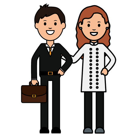 young businessman with female waiter vector illustration design Иллюстрация