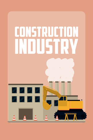 Construction industry concept with building and backhoe vector illustration graphic design Illusztráció