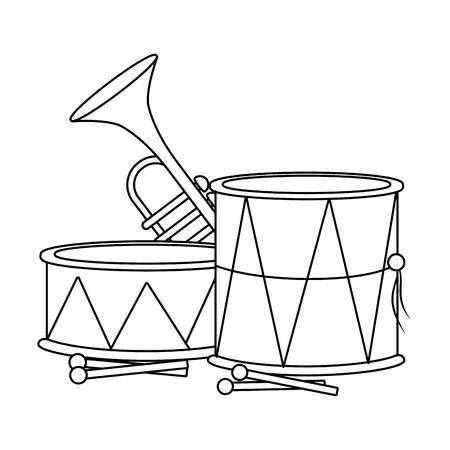 music instrument drummers and trumpet cartoon vector illustration graphic design