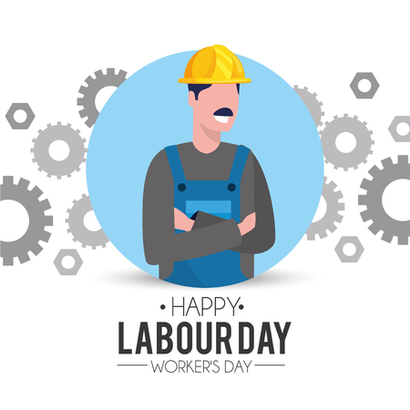 professional man mechanic with gears to labour day vector illustration Ilustração