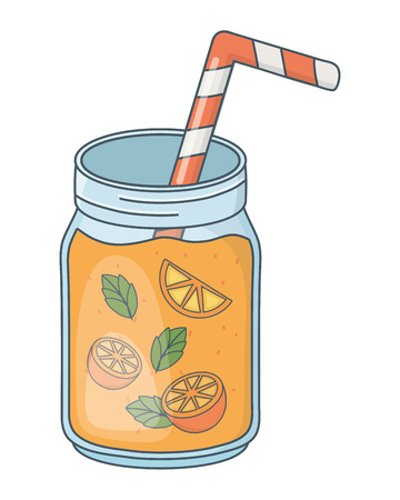delicious tasty refresh fruit orange juice mason jar cartoon vector illustration graphic design
