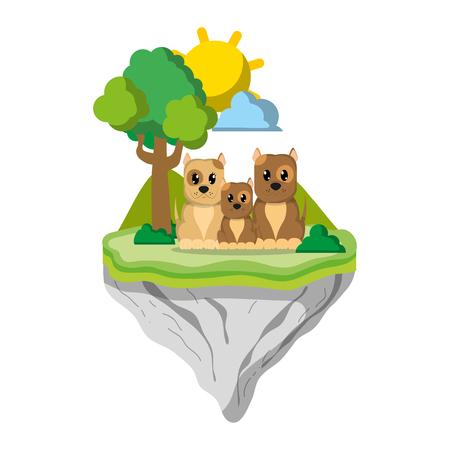 family dog animal in float island vector illustration