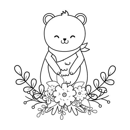 cute bear panda woodland character vector illustration design