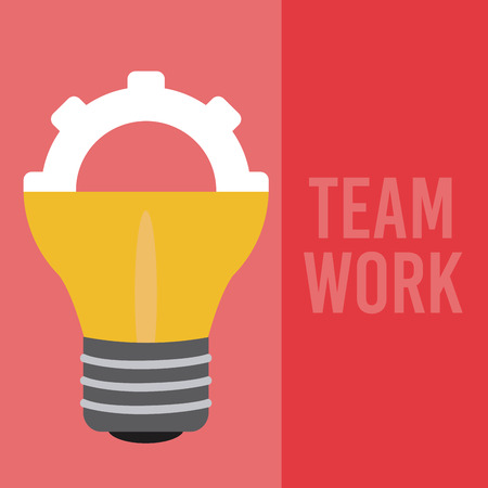 Teamwork gear inside bulb light vector illustration graphic design